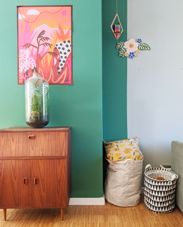 Muur in een groene kleur bij Studio Hoppa thuis